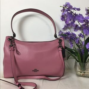 🌸NWT COACH PEBBLE LEATHER SHLDR PNK ROSE BAG🌸